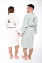 Minteks - Love Kimono Bornoz Seti - Natural & Çimen Yeşil