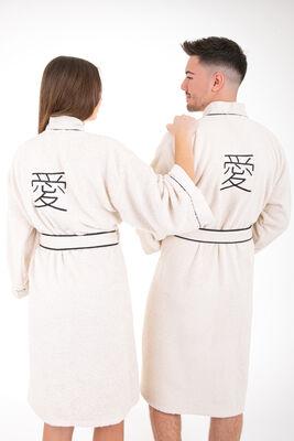 Minteks - Love Kimono Bornoz Seti - Natural & Natural