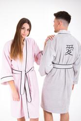 Minteks - Love Kimono Bornoz Seti - Pudra & Gri