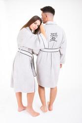 Minteks - Love Kimono Bornoz Seti - Gri & Gri