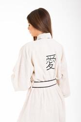 Minteks - Love Kimono Kadın Bornoz - Natural