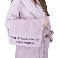 Minteks - MOR SALKIM KADINA SIDDET HATTI 30x50cm HAVLU 3