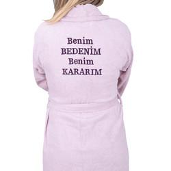 Minteks - MOR SALKIM KADINA SIDDET HATTI BORNOZ