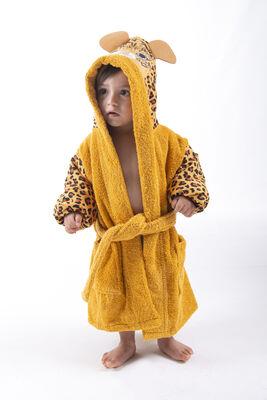 Minteks - Safari Çocuk Bornozu Leopar - Hardal
