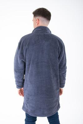 Wellsoft Dik Yaka Düğmeli Erkek Uzun Ceket
