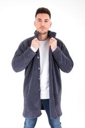 Wellsoft Dik Yaka Düğmeli Erkek Uzun Ceket - Thumbnail