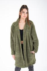 IRwear - Wellsoft Dik Yaka Düğmeli Kadın Uzun Ceket