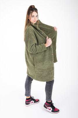 Wellsoft Dik Yaka Düğmeli Kadın Uzun Ceket