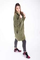 Wellsoft Dik Yaka Düğmeli Kadın Uzun Ceket - Thumbnail